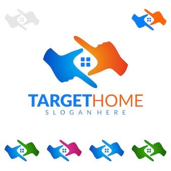 Logo de l'immobilier avec le concept d'investissement maison et cible