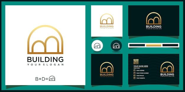 Logo de l'immobilier creative buildings et référence de carte de visite premium vector.