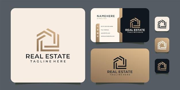 Logo Immobilier Dégradé Monogramme Vecteur Premium