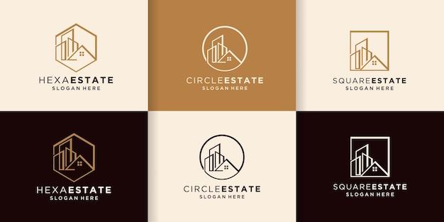 Logo immobilier avec ligne à gratter