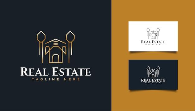 Logo immobilier de luxe en or avec style de ligne. modèle de conception de logo de construction, d'architecture ou de bâtiment
