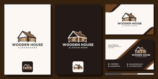 Logo immobilier de maison en bois, vecteur d'art de ligne de logotype de maison en bois. création de logo abstrait pour entreprise de construction ou studio de design d'intérieur, logo de maison en bois avec carte de visite