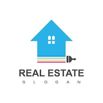 Logo immobilier maison peinture icône design vecteur