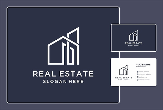 Logo immobilier minimal avec conception de carte de visite.