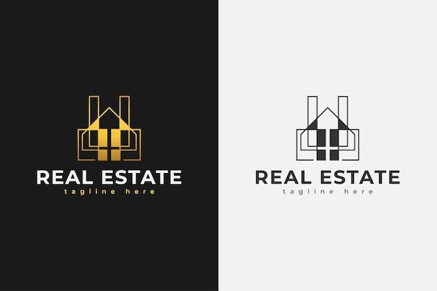 Logo immobilier minimaliste en dégradé d'or avec style de ligne. modèle de conception de logo de construction, d'architecture ou de bâtiment