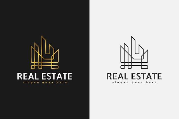 Logo Immobilier Minimaliste En Dégradé D'or Avec Style De Ligne. Modèle De Conception De Logo De Construction, D'architecture Ou De Bâtiment Vecteur Premium