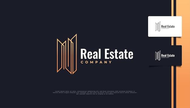 Logo immobilier minimaliste avec style de ligne.