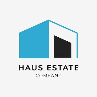 Logo de l'immobilier, modèle d'entreprise pour le vecteur de conception de marque, texte de la société immobilière haus