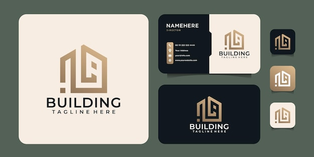 Logo immobilier moderne de bâtiment d'or