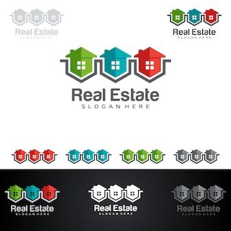 Logo immobilier avec la propriété abstraite et la forme de maison
