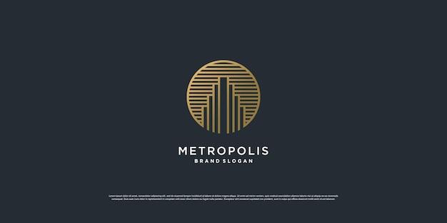 Logo de l'immobilier avec un style d'art de ligne de cercle doré vecteur premium