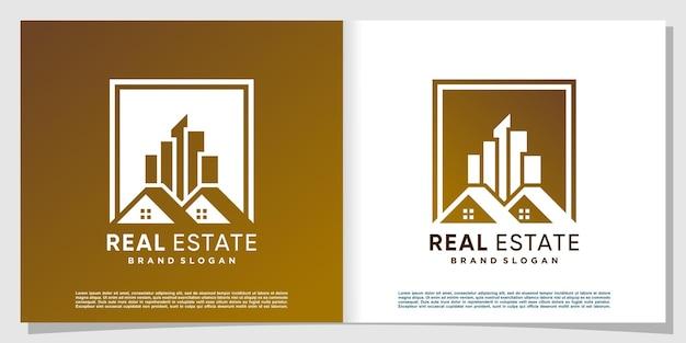 Logo de l'immobilier avec un style moderne et créatif vecteur premium