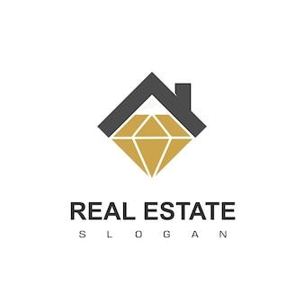 Logo immobilier symbole maison diamant
