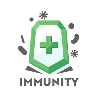 Logo d'immunité pour les services de santé, icône de défense des soins de santé bouclier médical contre les attaques bactériennes. concept sain