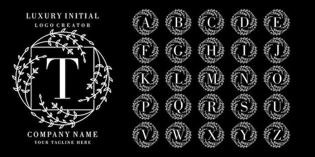 Logo initial avec cadre floral