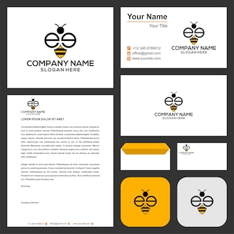 Logo initial ee combiner avec animal abeille dans la carte de visite logo premium vecteur premium