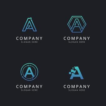 Un logo initial avec des éléments technologiques de couleur bleue