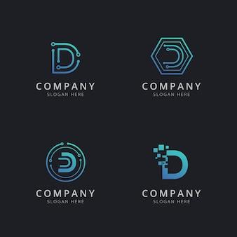 Logo d initial avec éléments technologiques de couleur bleue