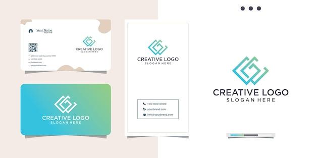 Logo initial gc dégradé de couleur et carte de visite