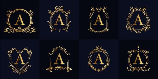 Logo initial a avec ornement de luxe ou cadre de fleur, collection de jeu.