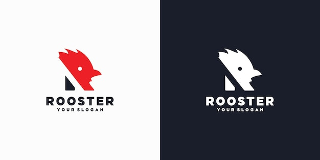 Logo initial r, initiale avec tête de coq, logo de référence