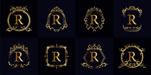 Logo initial r avec ornement de luxe ou cadre de fleur, collection de jeu.