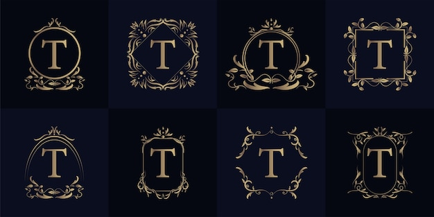 Logo initial t avec ornement de luxe ou cadre de fleur, collection de jeu.