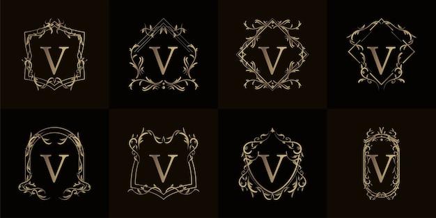 Logo initial v avec ornement de luxe ou cadre de fleur, collection de jeu.