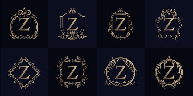 Logo initial z avec ornement de luxe ou cadre de fleur, collection de jeu.