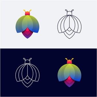 Logo insecte dégradé de couleur et dessin au trait