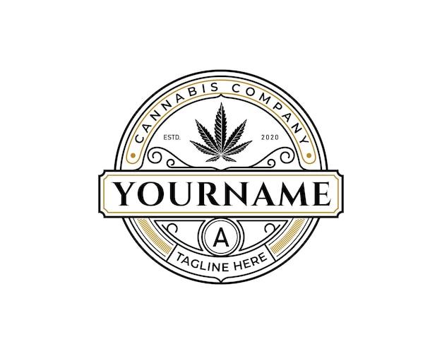 Logo d'insigne de cannabis, idée de conception d'étiquette de marijuana de luxe