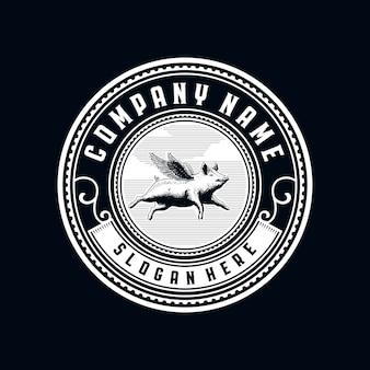 Logo d'insigne de cercle vintage cochon volant