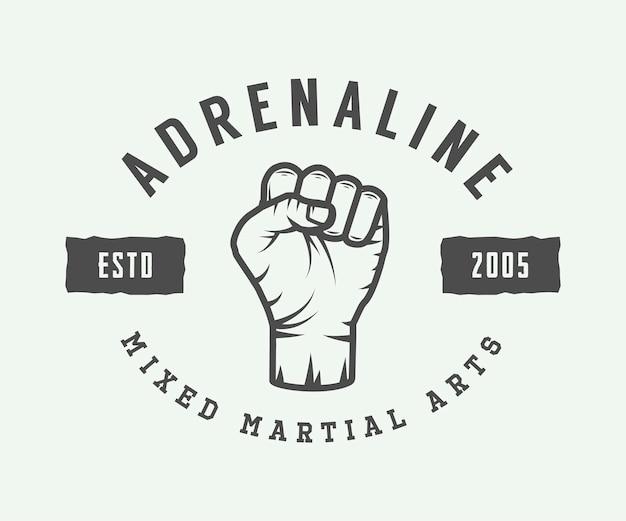 Logo, insigne ou emblème d'arts martiaux mixtes vintage. illustration vectorielle. art graphique monochrome.
