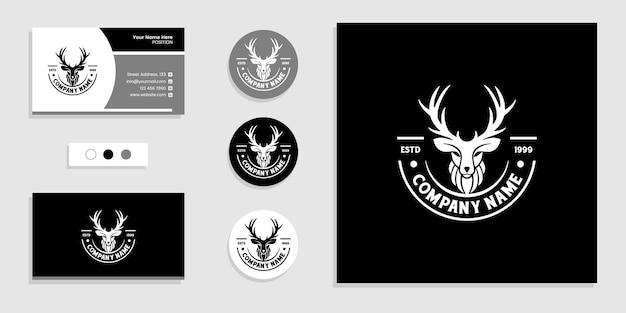 Logo d'insigne d'emblème de tête de cerf et modèle d'inspiration de conception de carte de visite