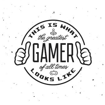 Logo d'insigne de jeux vidéo rétro. meilleur texte de joueur.