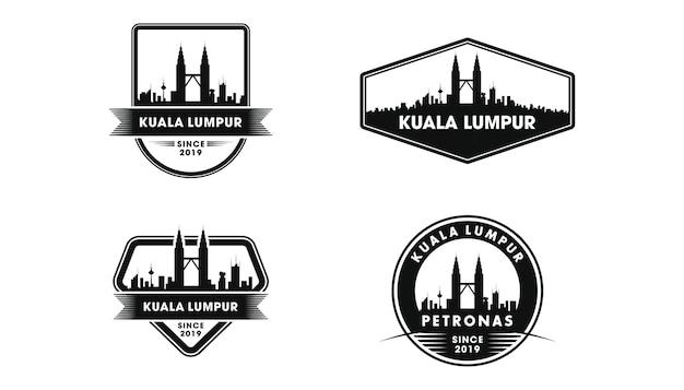 Logo d'insigne de kuala lumpur. silhouette de kuala lumpur et monuments