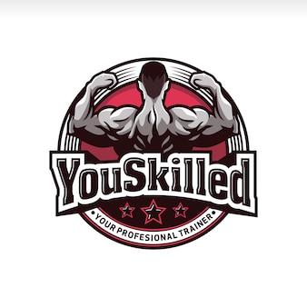 Logo d'insigne de muscle de gymnastique de forme physique de proffessional