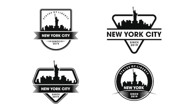 Logo d'insigne de new york. silhouette de skyline et monuments de new york