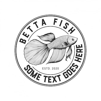 Logo insigne de poisson betta rustique dessiné à la main