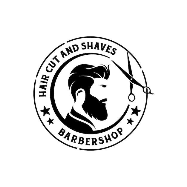 Logo d'insigne de salon de coiffure rétro vintage.
