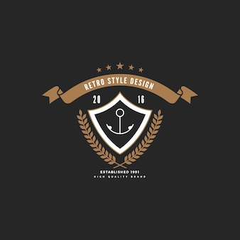 Logo insigne vintage avec cadre de bouclier de ruban.