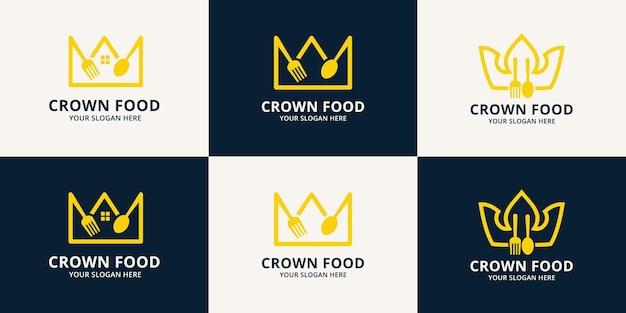 Logo d'inspiration alimentaire de la couronne pour le restaurant, l'hôtel et la commande de nourriture