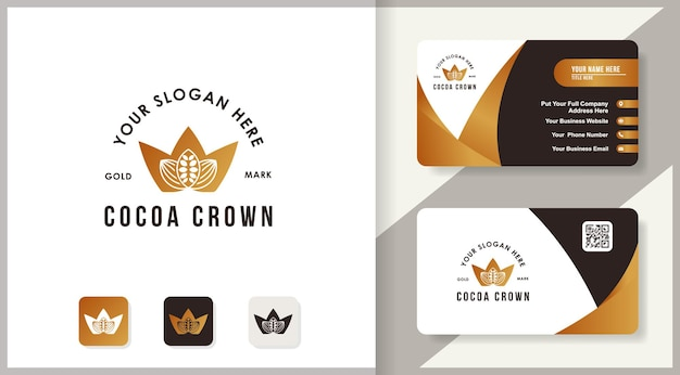 Logo d'inspiration de graines de cacao de la couronne pour les préparations alimentaires, de pain et de chocolat