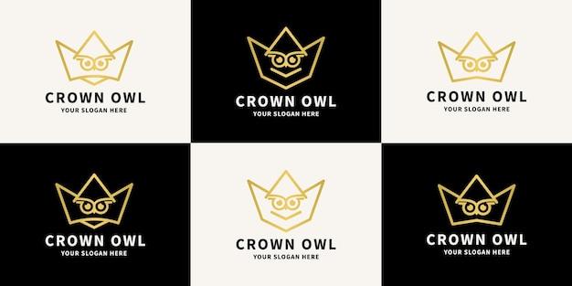 Logo d'inspiration de hibou de la couronne pour le symbole de l'intelligence