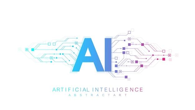 Logo de l'intelligence artificielle, icône. symbole vectoriel ai, concept de réseau neuronal blockchain d'apprentissage en profondeur. apprentissage automatique, intelligence artificielle, ia.