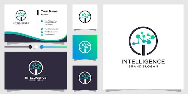 Logo intelligence avec concept de molécule et conception de carte de visite vecteur premium