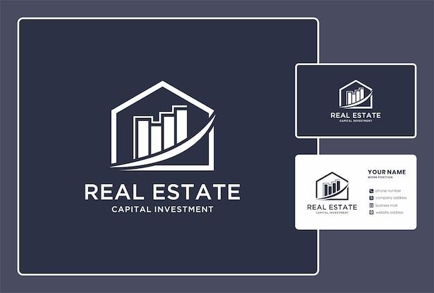 Logo d'investissement en capital immobilier et conception de carte de visite.