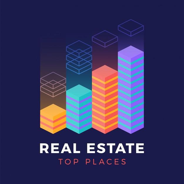Logo isométrique immobilier