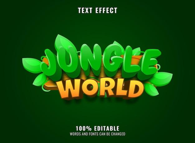 Logo de jeu du monde de la jungle drôle avec effet de texte modifiable sur cadre en bois