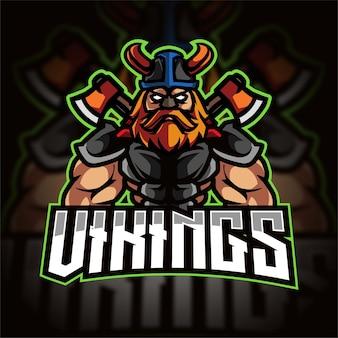 Logo de jeu esport demi-corps viking